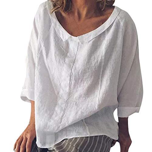(IZZB Damen Bluse Tanktops Weste Frauen Top Oberteil Sommer Shirt Beiläufig Halbe Hülse T-Shirts Verlieren Panze (Weiß, S))