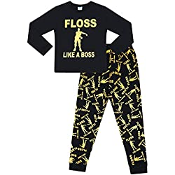 Floss Like a Boss All Over Gaming Black Gold Cotton Long Pyjamas (11-12 Years)