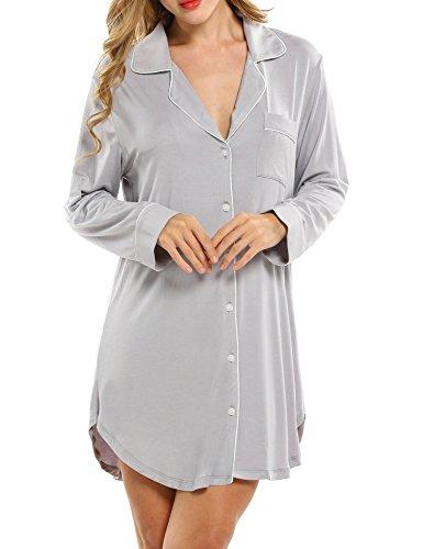 Avidlove Damen Viktorianisch Nachthemd T-shirt Luxus Nachtwäsche- Gr. M, Langarm 1: Grau - Luxus Nachtwäsche