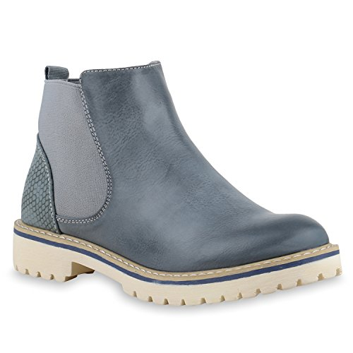 Senhoras Botas Stiefeletten Chelsea Imprime Sapatos Sola Azul L Luz