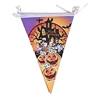 Mackur Halloween Triangle Flags Bunting Banner Decoration for Indoor Outdoor Halloween Party 1 Piece