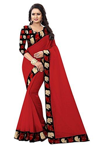 Febo Fashion Women's Chanderi Cotton Red Colour Kalamkari Sari