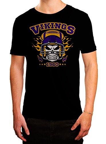 Vikings Skull Premium T-Shirt American Football Totenkopf Football-Helm Herren Shirt, Farbe:Schwarz (Deep Black L190);Größe:3XL