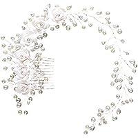 Frcolor Vid de pelo nupcial, perlas flores diadema de la cabeza de boda con peines