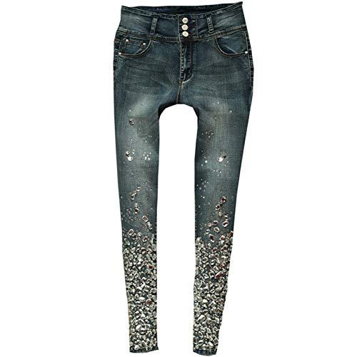 KBCJUA Sexy Röhrenjeans Hohe Taille Bleistift Stretch Hosen Diamant Hand Perlen Strass Schwarz Elastische Jeans Hosen