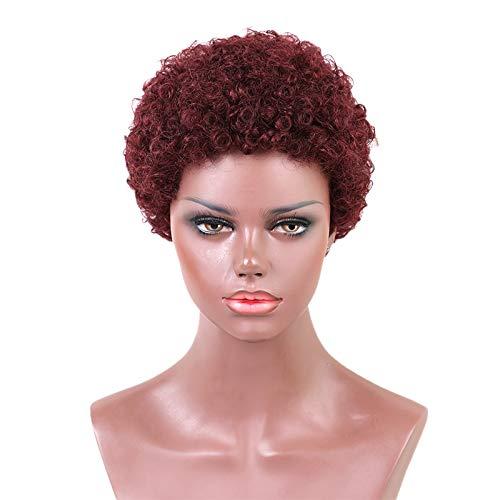 SODIAL Perruque En Mélange Synthétique Cheveux Humains 4 Pouces Perruques Courtes Cheveux Bouclés Plein Casquette Perruque Pour Vin Rouge Femme Vin Rouge
