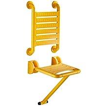 Respaldo de Baño Taburete Ducha de Pared Asiento Aseo Anciano Ducha Sillón de Pared Accesible para Discapacitados Bañera Taburete (Color : Amarillo)