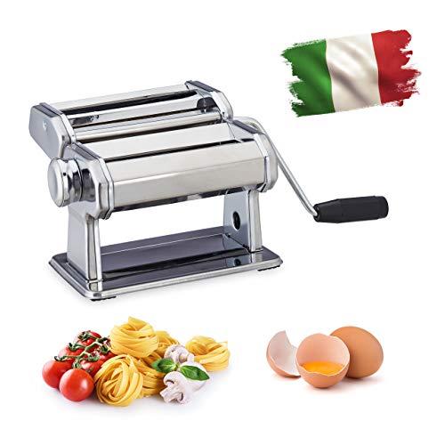 Relaxdays Nudelmaschine, manuell, Kurbel, Aufsatz, für Spaghetti, Bandnudeln, Lasagne, Edelstahl Pastamaschine, silber
