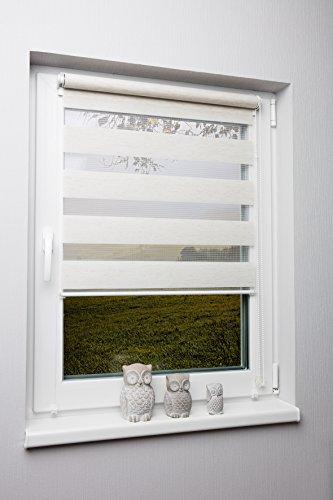 Fensterrollo Duo-Rollo Doppelrollo Beige verschiedene Größen ohne Bohren mit Kettezug Klemmrollo Seitenzugrollo 80x210 cm (Plissee-vorhänge 84)