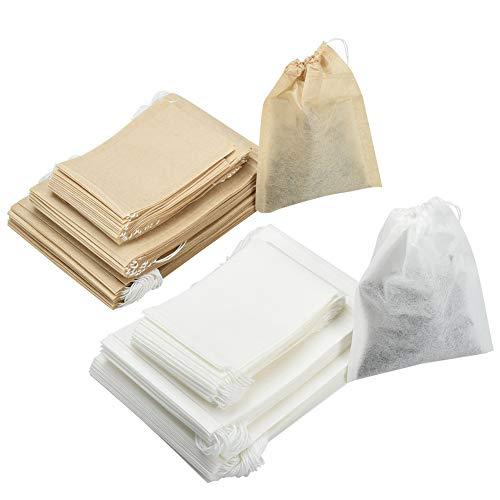 Irich 300 Stücke Einweg Teefilter, Drawstring Teebeutel Filterwirkung für Lose Blatt Tee Früchtetee Kräutertee Gewürz Kräuterpulver Teeliebhaber (3 Verschiedene Größen) - Papier-tee-filter
