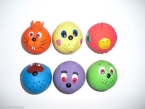 6-x-Latex-Faceballs-Dog-Puppy-Toy-Tennis-Balls-Sized-Soft-Squeaky-Face-Balls