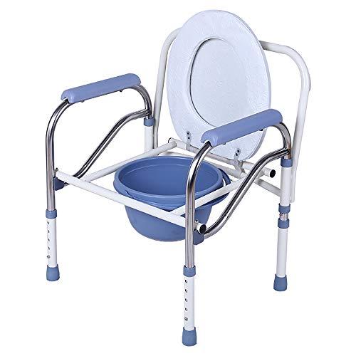 Bett-WC/Bad-Stuhl, medizinische faltende Versorgung mit Sicherheits-Rahmen-Schienen Nachttisch, für Älteren mit Kommode-Eimer und Spritzen-Schutz (Farbe : Weiß)