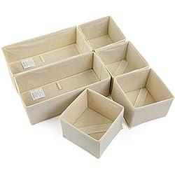 NEWSTYLE Organiseurs de Tiroir,Lot de 6 Boîte de Rangement Pliable Non-tissé pour Chaussettes, sous-Vêtements, Soutiens-Gorge, Cravates, Foulards (Beige)