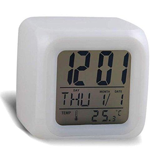 Shage 7 Farben Uhr LED ändern Mode Digital Warnungs Thermometer Nacht Glühender Würfel