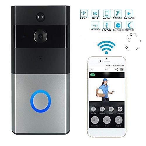 Video Doorbell, Impermeable Inalámbrico Videoportero 720P HD, Audio Bidireccional, FIR Detección de Movimiento y Conexión WiFi App for iOS/Android/Windows