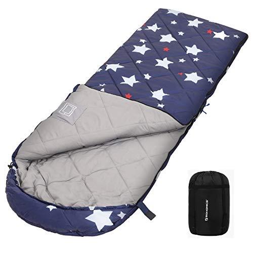 SONGMICS Schlafsack mit Kompressionsbeutel, Trekkingschlafsack für alle 4 Jahreszeiten, leicht, kompakt, mit Ultraschall-Nähten, Camping, Wandern, mit Sternenmuster, Komforttemperatur 5-15°C GSB20IN