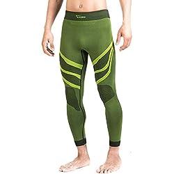 Xaed Pantalones Interior Funcion Hombre Ski, Pantalon Interior Funcion Ski, Hombre, Negro/Amarillo, L