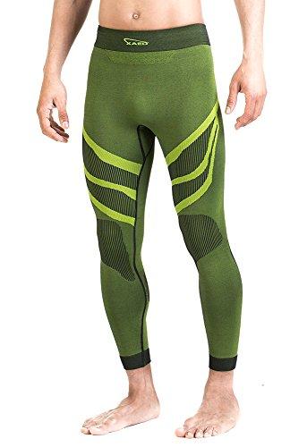 XAED - pantaloni a compressione, da uomo, Large, colore nero / lime
