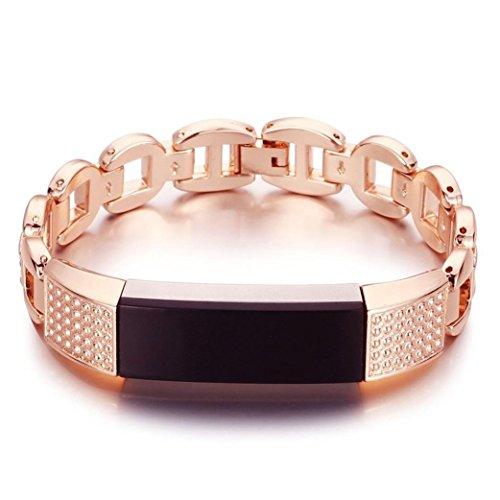 Altsommer 14.5mm Flash Diamant Frauen Luxusuhr/Mode Fashion Edelstahl Armbanduhr für Fitbit Alta HR Uhrenarmbänder Edelstahl Rose Gold Silver Uhrarmband für Damen (Rose Gold)