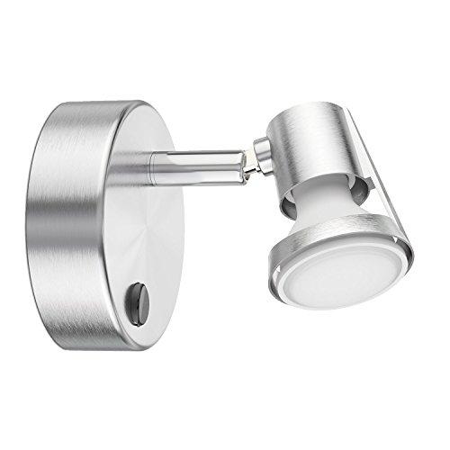 ledscom.de Wand-Leuchte LEONIS, einflammig mit Schalter inkl. 460lm LED GU10 Lampe, - Elektrischer Wand-schalter