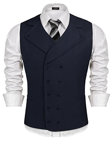 Double Breasted Drop (Coofandy Herren Anzug Weste massiv zweireihig Slim Fit Business Dress Weste - Blau - S)