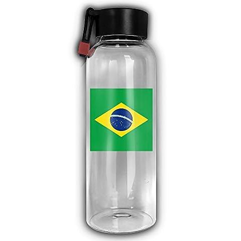 Bigkin Soutien-gorge Drapeau du Brésil en verre Bouteille d'eau Sports de plein air bouilloire 550ml respectueux de l'environnement avec boucle