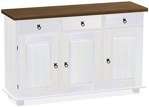 Brasilmöbel Sideboard, Pinie Massivholz, geölt und gewachst Nussbaum – weiß, L/B/H: 129 x 40 x 83 cm