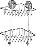 WENKO Vacuum-Loc Eckregal Bari 2 Etagen, Befestigen ohne bohren, Stahl, 22.5 x 29.5 x 16 cm, chrom -