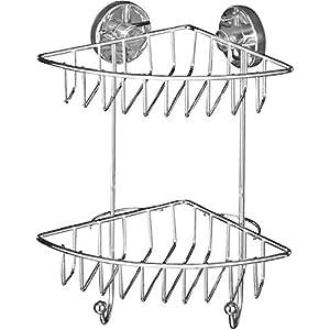 WENKO Vacuum-Loc Eckregal 2 Etagen Bari, Wandablage ohne bohren, Duschablage mit Vakuum-Befestigung, Regal für…