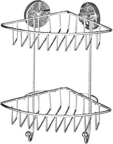WENKO Vacuum-Loc Eckregal Bari 2 Etagen, Befestigen ohne bohren, Stahl, 22.5 x 29.5 x 16 cm, chrom