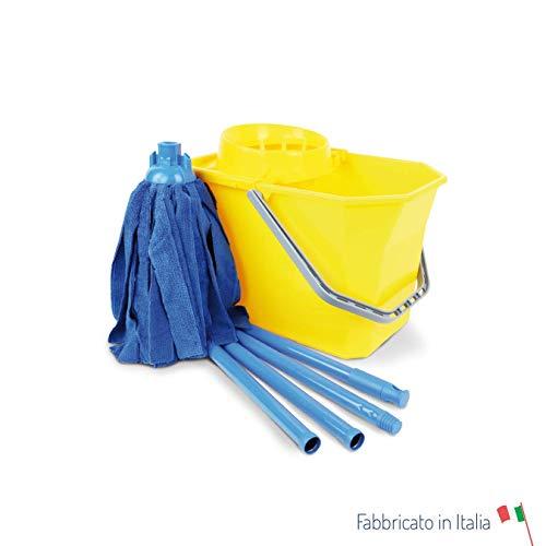 Mapigi kit moppino microfibra sistema lavapavimenti kit con secchio, strizzatore, manico 4 pezzi 130 cm e mocio microfibra 200g