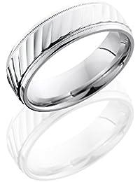 Cobalt Chrome, Satin Textured Wedding Band Polished Edge (sz H to Z1)