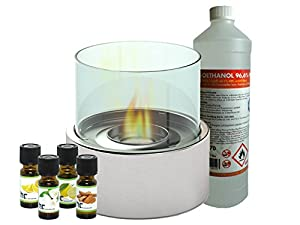 Luxury Table Fire Table 16cm Glass Fireplace + 1L Bio Ethanol + 4x Fragrance Oil, for a perfect Mood