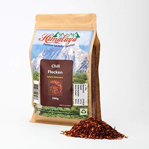 chiliflocken zum abnehmen chili flocken geschrotet 500g, chiliflocken extra scharf chili geschrotet chili getrocknet chiliflocken Himalaya Gebirge Indien Naturware