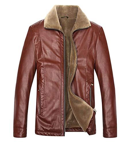 GKKXUE Herren Winterjacke Plus Dünger XL Lederjacke im mittleren Alter Dicklederjacke (Farbe : Red, größe : XXXL) (Lederjacke Größe Men Plus)