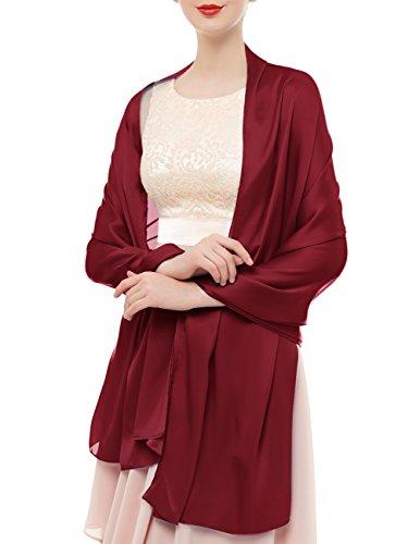 bridesmay Damen Elegant Seidenschal 180 * 90cm Seide Halstuch Stola Schal für Kleider in 20 Farben Burgundy