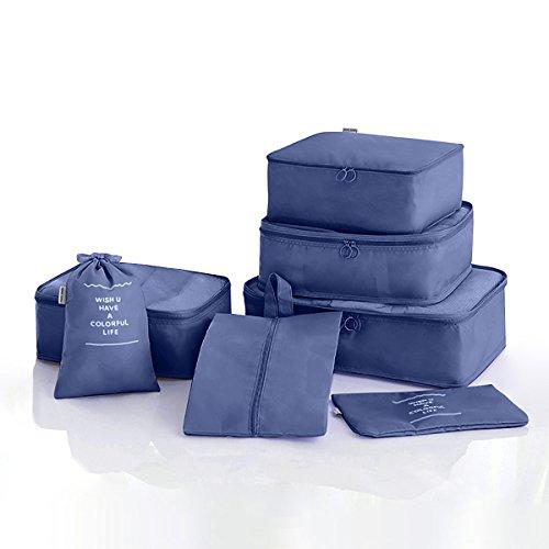 Walsilk 8 Set Verpackungswürfel, Packing Cube,Travel Gepäck Organizer,mit 4 Kleidung Aufbewahrungsbeutel,2 Seiltaschen,1 Schuhbeutel,1 flache Tasche,für Travel Aufbewahrungstasche(Navy Blue)