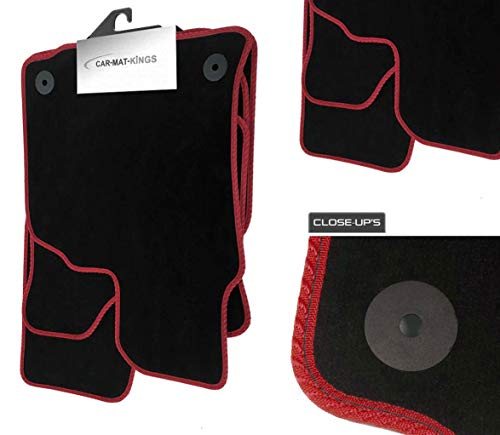 Price comparison product image (X235:VEL) 2 Piece Mercedes (2011-2018) SLK Vehicle Specific Car Mat Set Black Carpet Red Trim