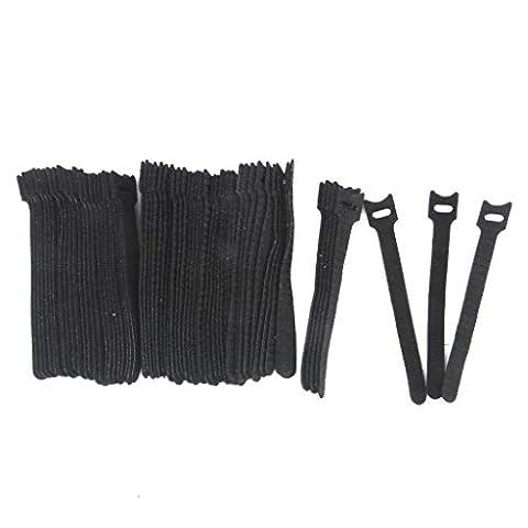 Lot de 50pcs Attache Câble Autoagrippante en Nylon Noir