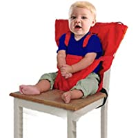 Baby Chair Booster Infantil Portátil Alimentación Cinturón de Seguridad Silla Alta Carrier Rojo