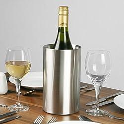 Seau réfrigérant à Champagne et vin avec double paroi en acier inoxydable brossé