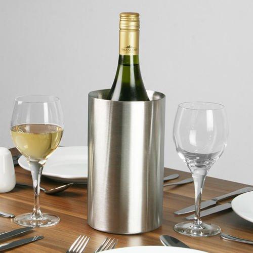 Doppelwandiger Kühler für Wein- oder Champagnerflaschen aus gebürstetem Edelstahl, Eiskühler. -