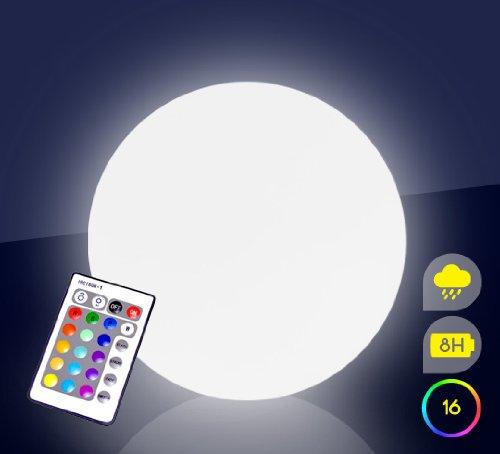 Mervy - Boule 40cm Lumineuse Led Multicolore Sans Fil Intérieur Extérieur Avec Télécommande Base Induction Et Crochet