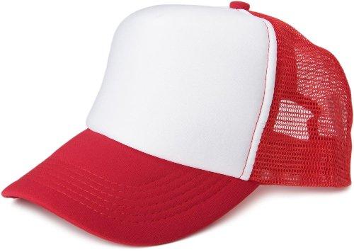 styleBREAKER 5 Panel Mesh Cap 04023007 (Weiß-Rot)