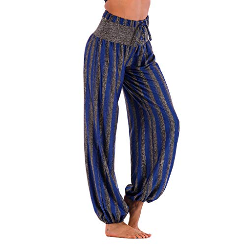 WOZOW Damen Hosen Plus Size Vertical Striped Streifen Gestreift Loose Long Aladdin Indian High Waist Elastisch Straight Leg Yoga Trousers (3XL,Blau) - Cord Boot Cut Hose