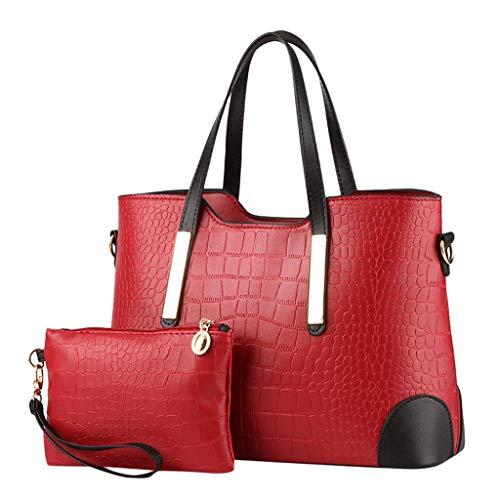 Tohole 2 Stück Set Handtaschen Damen Weiche Taschen Set Beutel Top Handle Bags Tragetaschen Messenger Bag GeldböRsen FüR Schulter Beuteltote (Wein,2PC)