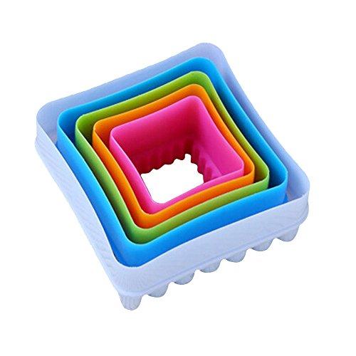 Sanwood 5x Fondant Kuchen Cookie Ausstechformen Dekorieren Formen Küche–ramdom Farbe Quadrat