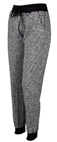 IWEA Damen Jogginghose Freizeithose Casual Sweatpants Sporthose Trainingshose Meliert IW059, Dunkelgrau, L/XL