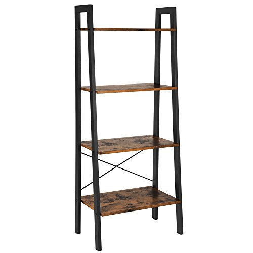 Vasagle Standregal Bücherregale 4 Ebenen Leiter Regal Stabiles Metall Für Den Rahmen Einfache Montage Für Wohnzimmer Schlafzimmer Küche