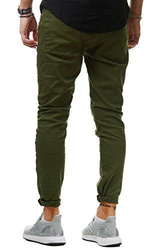 EightyFive Herren Jeans-Hose Denim Slim Fit Zerrissen Gerippt Schwarz Grau Grün EF1513 Grün